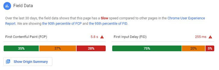 PageSpeed Insight Field Data